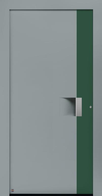 Motiv 301 Thermo Carbon in Vorzugsfarbe Fenstergrau matt, RAL 7040, Aluminium Applikation in Vorzugsfarbton Moosgrün, RAL 6005