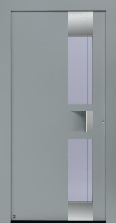 Motiv 302 Thermo Carbon in Vorzugsfarbe Fenstergrau matt, RAL 7040, Griffleiste in Weißaluminium RAL 9006, Griffmulde in Türfarbe