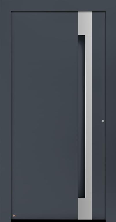 Motiv 308 Thermo Carbon in Vorzugsfarbe Schiefergrau matt, RAL 7015, Griffleiste in Weißaluminium RAL 9006, Griffmulde in Türfarbe