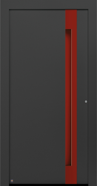 Motiv 308 Thermo Carbon in CH 703 Anthrazit, strukturiert, Griffleiste und Griffmulde in Vorzugsfarbe Rubinrot matt, RAL 3003