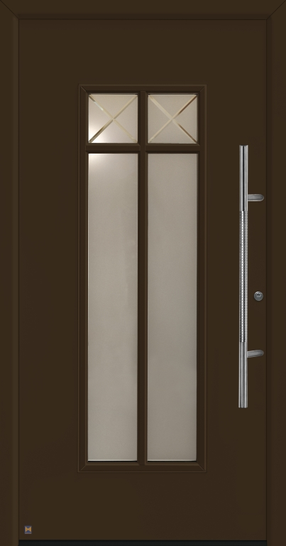 Motiv 675 Thermo Safe in Vorzugsfarbe Terrabraun matt, RAL 8028, mit Blendrahmen Rondo 70