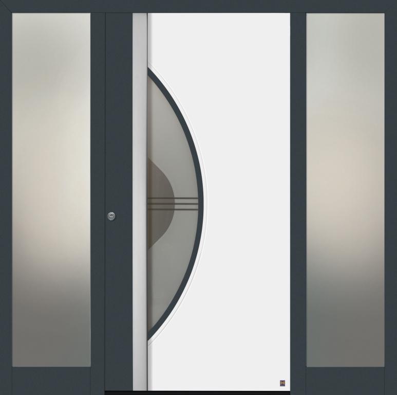 Motiv 590 Thermo Safe in Vorzugsfarbe Schiefergrau matt, RAL 7015 und Farbapplikation in Verkehrsweiß matt, RAL 9016, mit Seitenteilen